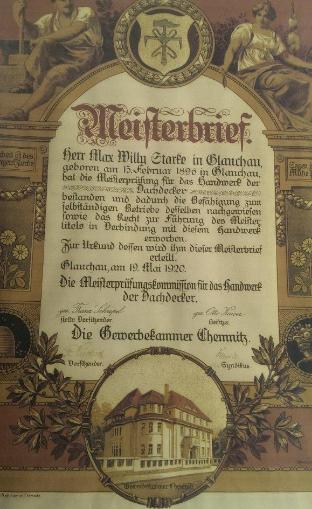 Meisterbrief von Max Willy Starke
